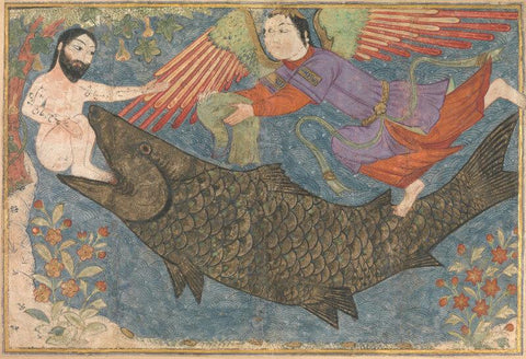 Islamic Miniature - Jonah and the Whale, Folio from a Jami al-Tavarikh (Compendium of Chronicles)
