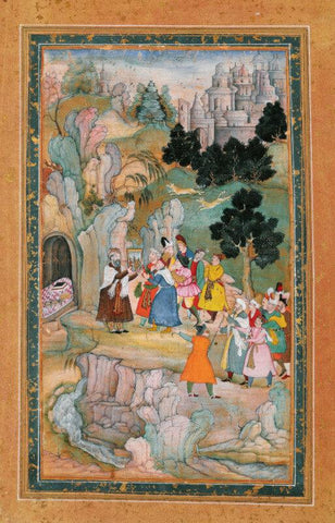 Islamic Miniature - Showing a Painting in Front of a Grotto - India, Mughal - c 1600