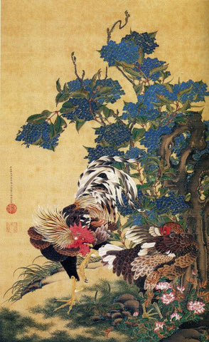 Rooster And Hen With Hydrangeas
