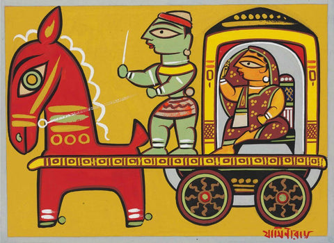 Jamini Roy - Lady In A Carriage