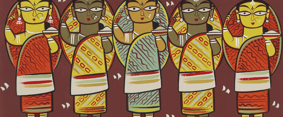 Jamini Roy - Five Women by Jamini Roy | Buy Posters, Frames, Canvas  & Digital Art Prints