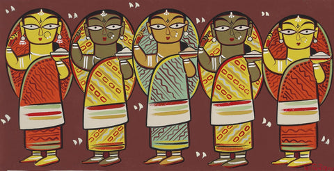 Jamini Roy - Five Women by Jamini Roy