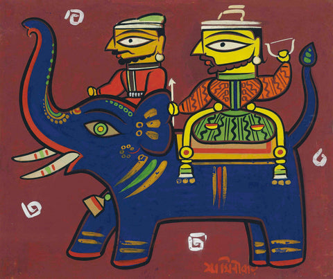 Jamini Roy - Hunters And Elephant by Jamini Roy