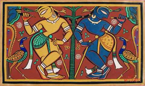 Krishna and Balaram by Jamini Roy