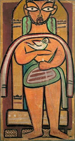 Man With A Bird by Jamini Roy