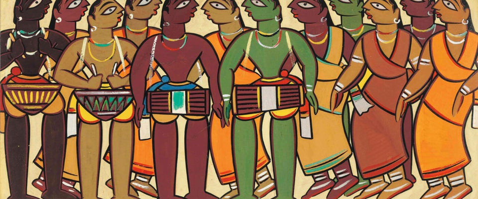 Jamini Roy - Santhal  Musicians and Dancers by Jamini Roy | Buy Posters, Frames, Canvas  & Digital Art Prints
