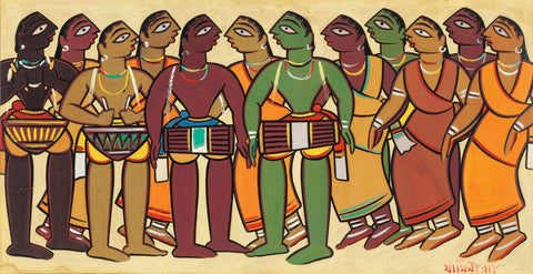Jamini Roy - Santhal  Musicians and Dancers by Jamini Roy
