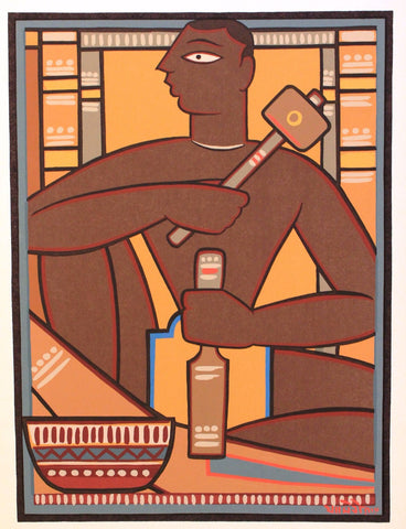 Jamini Roy - Santhal Wood Carver by Jamini Roy
