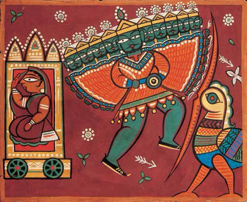 Sita, Jatayu And Ravana by Jamini Roy