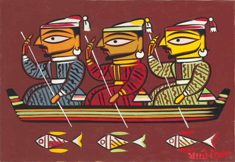 Jamini Roy - Three Boatmen by Jamini Roy