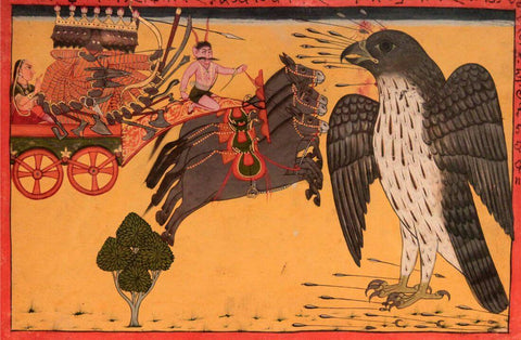 Jatayu Confronting Ravana To Save Sita - Indian Miniature Painting From Ramayana - Vintage Indian Art