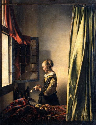 Girl Reading A Letter At An Open Window - Posters