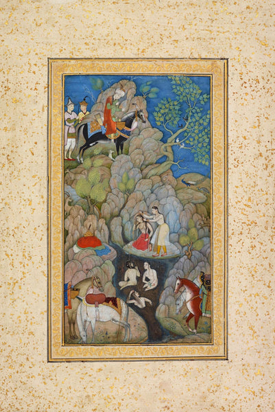Artwork of KHUSRAU SPIES SHIRIN BATHING - Vintage Islamic Art Painting c1610 by Sha na