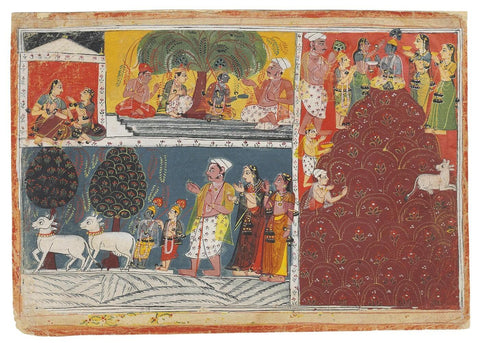 Krishna And The Gopis Worship At Mount Govardhan - Mewar school