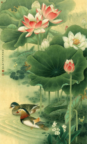 Chinese Traditional Painting - Water Lily & Lotus by Wu Guanzhong