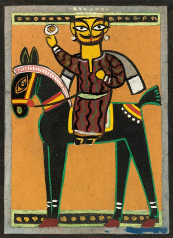 King On A Horse by Jamini Roy