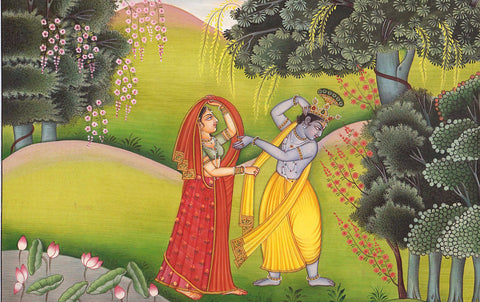 Krishna Adorns His Beloved Radha in Vrindavana - Framed Prints