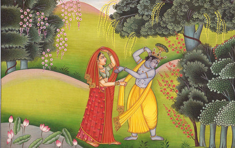 Krishna Adorns His Beloved Radha in Vrindavana by Anonymous Artist