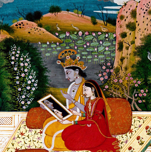 Krishna and Radha Looking Into a Mirror - Framed Prints