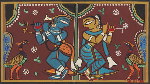 Krishna Collection - Indian Art - Kalighat Style - Jamini Roy - Krishna And Radha Dancing by Jamini Roy