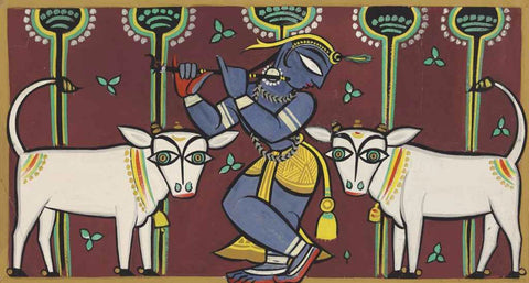 Krishna Collection - Indian Art - Kalighat Style - Jamini Roy - Krishna Playing Flute with His Pets