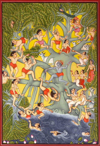 Krishna Collections - Indian Art - Mural Paintings - Krishna with Cowherds