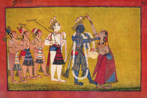 Krishna Cures Kubja (The Hunchbacked Woman Trivakra) - Vintage Indian Painting 18th Century by Jai