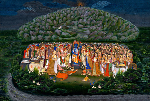 Krishna Lifting Mount Govardhan - Art Prints