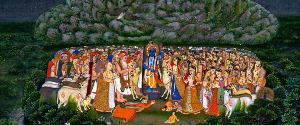 Krishna Lifting Mount Govardhan by Anonymous Artist | Buy Posters, Frames, Canvas  & Digital Art Prints