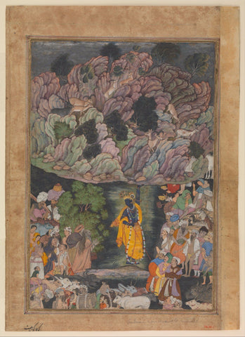 Indian Miniature Paintings - Mughal Paintings - Krishna Holds Up Mount Govardhan to Shelter the Villagers of Braj