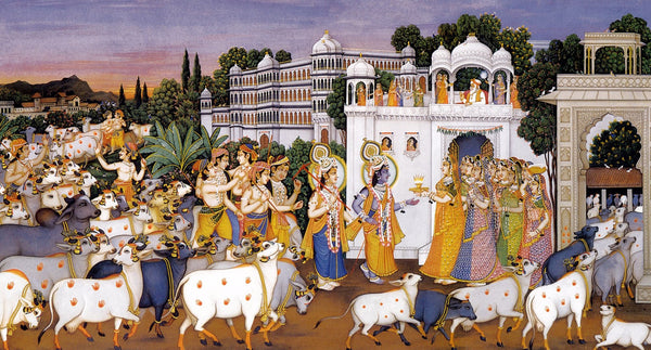 Krishna and Balaram with a Herd of Cows - Framed Prints