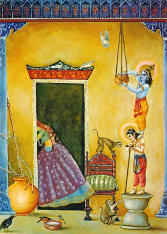 Krishna and Friends Stealing Butter - Vintage Indian Painting