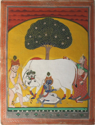 Indian Miniature Art - Krishna Milking Cow