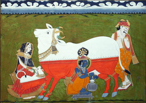 Krishna Milking Cow, Accomanied By Parents Yashoda And Nanda - Marwar c1840 - Indian Vintage Miniature Painting