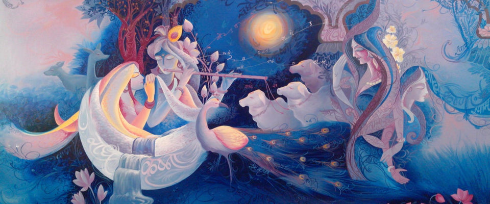 Krishna with Radha Playing Flute by Raghuraman | Buy Posters, Frames, Canvas  & Digital Art Prints