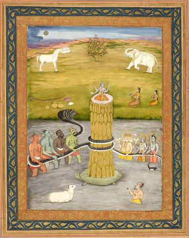 Kurma - The Second Incarnation Of Vishnu - C 1790 - Indian School - Indian Miniature Painting by Tallenge Store