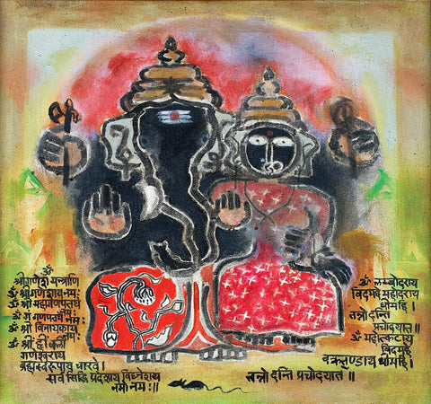 Lord Ganesha With Consort - Contemporary Art Ganesha Painting