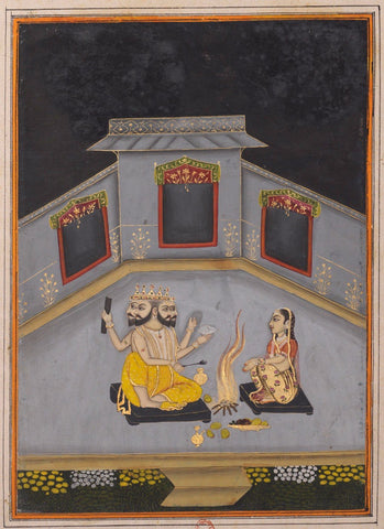 Indian Miniature Paintings - Lady Worshipping God Brahma - Rajput Ragamala Painting