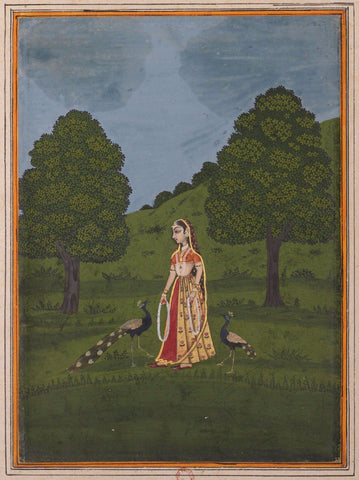 Indian Miniature Paintings - Lady with Pecocks - Rajput-Ragamala - Painting
