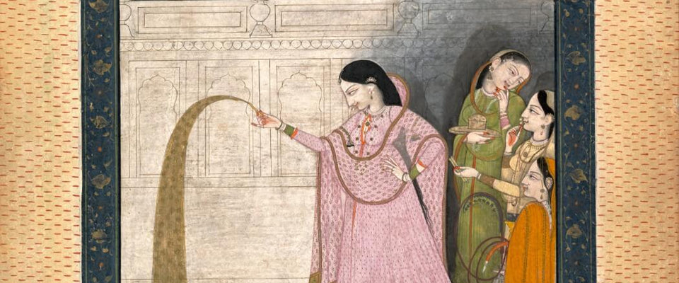 Lady Holding A Sparkler - Kangra School c1800 - Vintage Indian Art Miniature Painting by Tallenge Store | Buy Posters, Frames, Canvas  & Digital Art Prints
