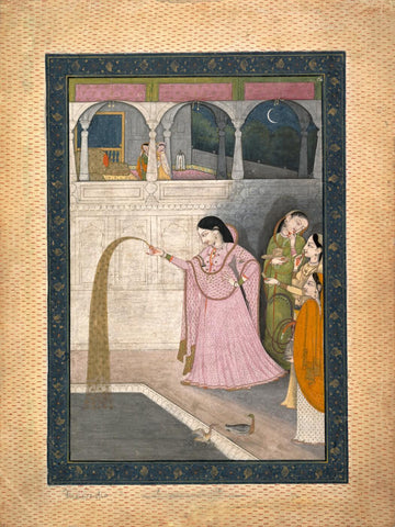 Lady Holding A Sparkler - Kangra School c1800 - Vintage Indian Art Miniature Painting
