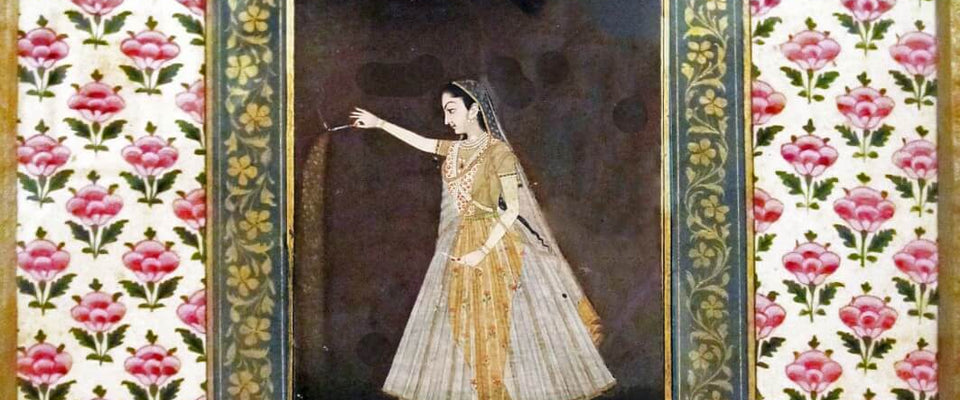 Lady Holding A Sparkler - ShahJahan c1660 - Vintage Indian Art Painting by Tallenge Store | Buy Posters, Frames, Canvas  & Digital Art Prints