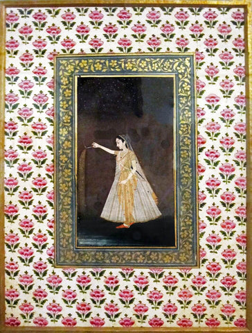 Lady Holding A Sparkler - ShahJahan c1660 - Vintage Indian Art Painting