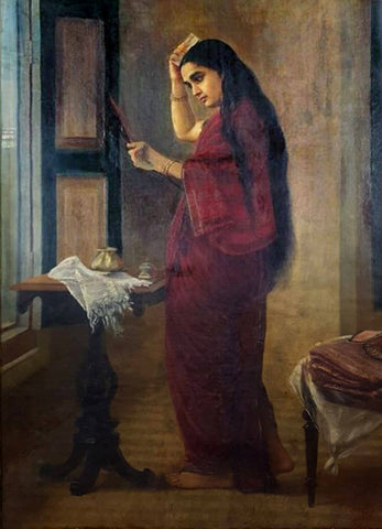 Lady With Comb  - Raja Ravi Varma Painting -  Vintage Indian Art by Raja Ravi Varma