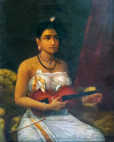 Lady With Violin - Raja Ravi Varma Painting -  Vintage Indian Art by Raja Ravi Varma