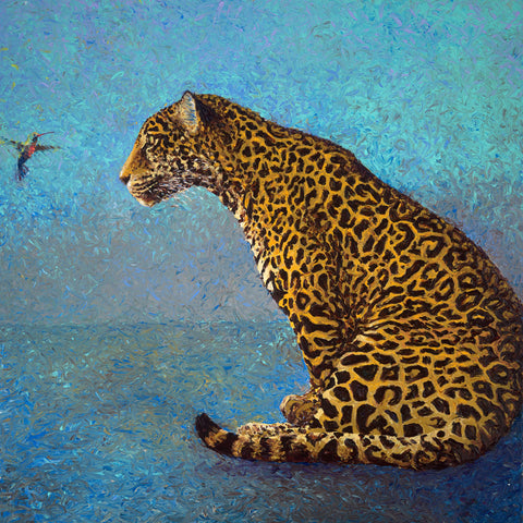Leopard With The Hummingbird - Art Prints