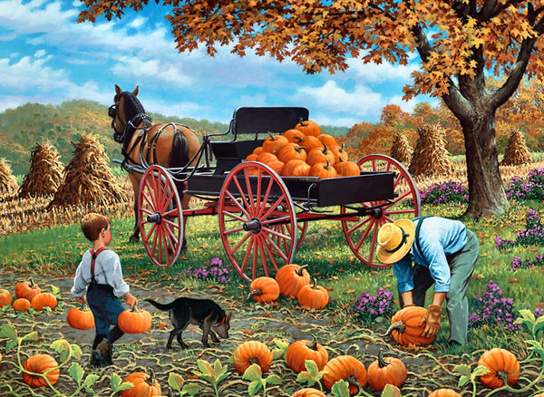 Loading Pumpkins in a Kart - Canvas Prints