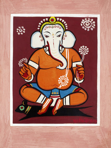 Lord Ganesha - Jamini Roy - Famous Indian Painting by Jamini Roy