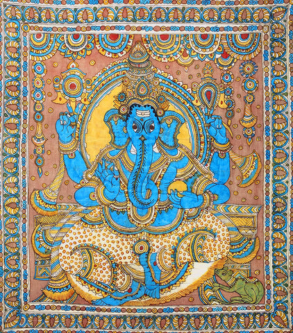 Lord Ganesha - Kalamkari Indian Painting by Raghuraman