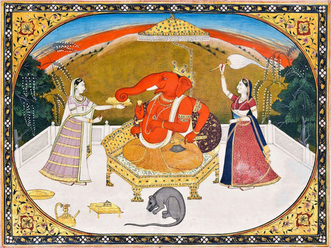 Lord Ganesh With Devotees - 19th Century - Indian Vintage Miniature Painting